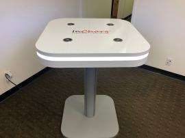 MOD-1458 Bistro Charging Table with Wireless and USB Charging Ports and LED Perimeter Lights. Shown w/ the Vinyl Graphic Option