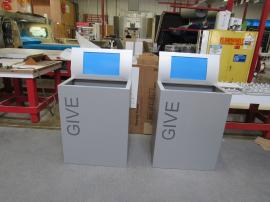Custom Donation Bins with Graphics and Signage Header